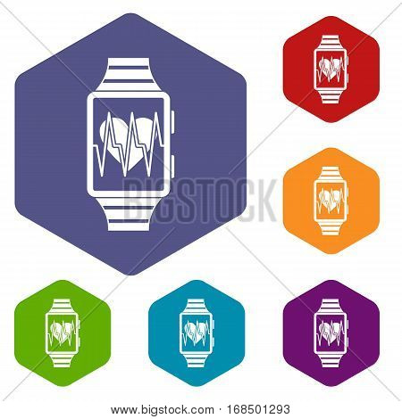 Smartwatch with sport app icons set rhombus in different colors isolated on white background