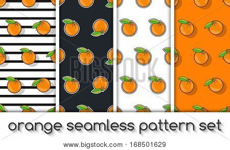Set Of Patterns With Oranges, Seamless Texture, Wallpaper.