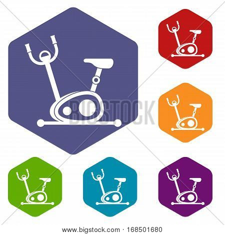Exercise bike icons set rhombus in different colors isolated on white background