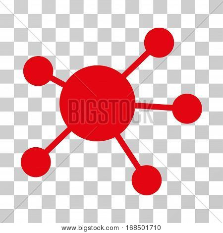 Network Links icon. Vector illustration style is flat iconic symbol, red color, transparent background. Designed for web and software interfaces.