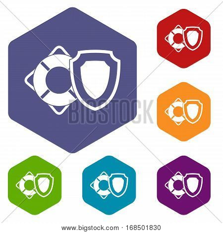 Lifebuoy and safety shield icons set rhombus in different colors isolated on white background