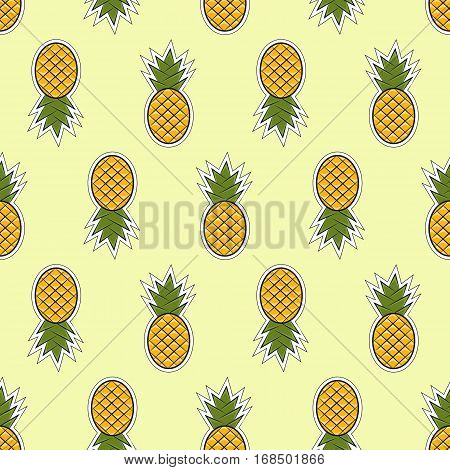 Pineapple Vector Seamless Pattern In The Flat Style