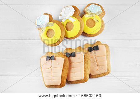 Bachelorette party cookies on wooden background