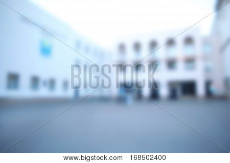 Blurred view of modern school building