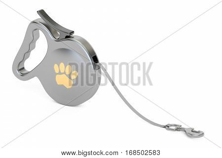 Automatic Retractable Traction Rope Walking Lead Leash. 3D rendering isolated on white background