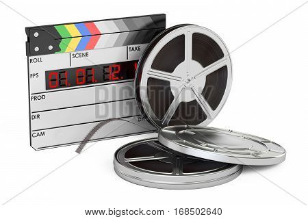 cinema and cinematography filmmaking concept 3D rendering isolated on white background