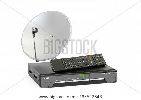 Digital satellite receiver with satellite dish telecommunications concept. 3D rendering