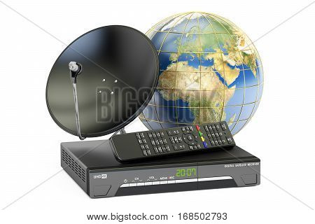 Global telecommunications concept. Digital satellite receiver with satellite dish and globe Earth 3D rendering