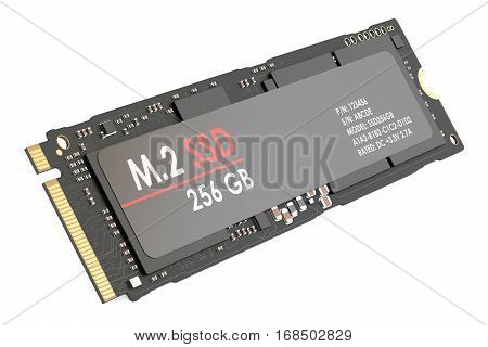 m.2 SSD 256 gb 3D rendering isolated on white background