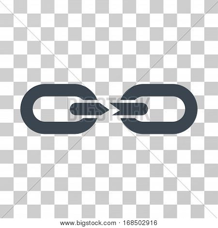 Chain Break icon. Vector illustration style is flat iconic symbol, smooth blue color, transparent background. Designed for web and software interfaces.