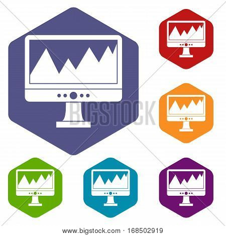 Monitor and a chart icons set rhombus in different colors isolated on white background