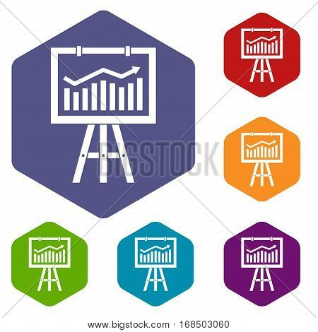 Flipchart with marketing data icons set rhombus in different colors isolated on white background