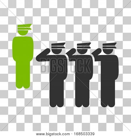 Army icon. Vector illustration style is flat iconic bicolor symbol, eco green and gray colors, transparent background. Designed for web and software interfaces.