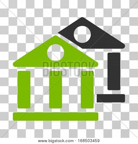 Banks icon. Vector illustration style is flat iconic bicolor symbol, eco green and gray colors, transparent background. Designed for web and software interfaces.