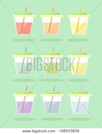 Set of lemonade in small translucent cups with straws. To leave on a picnic for children