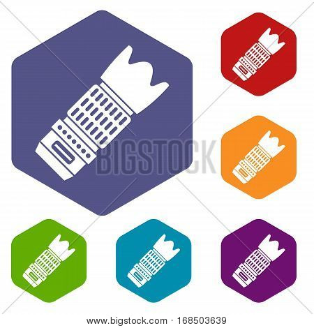 Interchangeable lens for camera icons set rhombus in different colors isolated on white background
