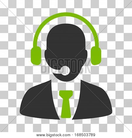 Call Center icon. Vector illustration style is flat iconic bicolor symbol, eco green and gray colors, transparent background. Designed for web and software interfaces.