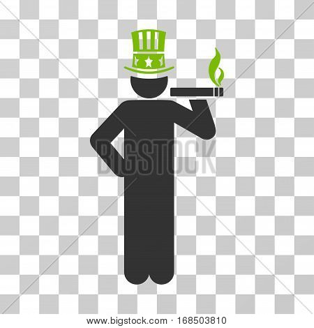 Capitalist icon. Vector illustration style is flat iconic bicolor symbol, eco green and gray colors, transparent background. Designed for web and software interfaces.