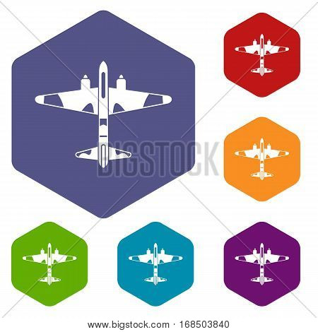Military fighter aircraft icons set rhombus in different colors isolated on white background