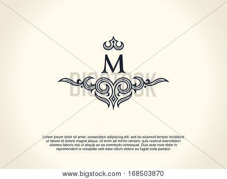Calligraphic Luxury line logo. Flourishes elegant emblem monogram. Royal vintage divider design. Black symbol decor for menu card, invitation label, Restaurant, Cafe, Hotel. Vector line letter M