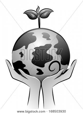 Black and White Illustration of a Pair of Hands Holding a Globe with a Sapling Growing from It
