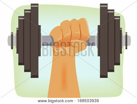 Illustration of a Strong Man Lifting a Barbell Weighted with Several Kilos Worth of Plates