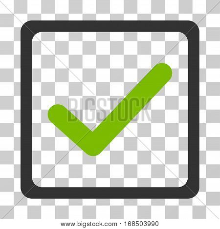 Checkbox icon. Vector illustration style is flat iconic bicolor symbol, eco green and gray colors, transparent background. Designed for web and software interfaces.