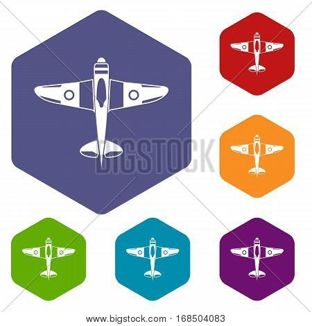 Military fighter plane icons set rhombus in different colors isolated on white background