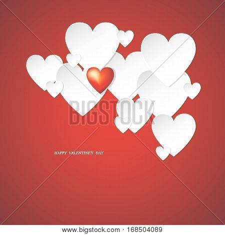 Valentine's Day holiday, hearts greeting card, vector illustration.