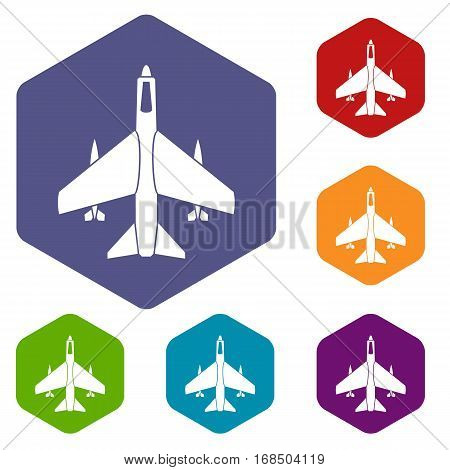 Armed fighter jet icons set rhombus in different colors isolated on white background