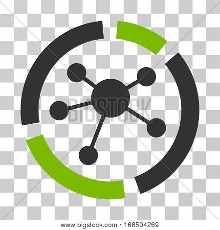 Connections Diagram icon. Vector illustration style is flat iconic bicolor symbol, eco green and gray colors, transparent background. Designed for web and software interfaces.