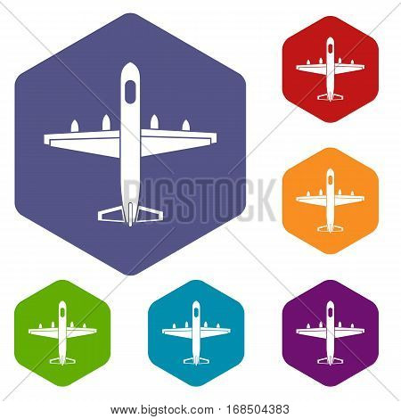 Military plane icons set rhombus in different colors isolated on white background