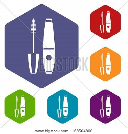 Mascara, mascara brush icons set rhombus in different colors isolated on white background