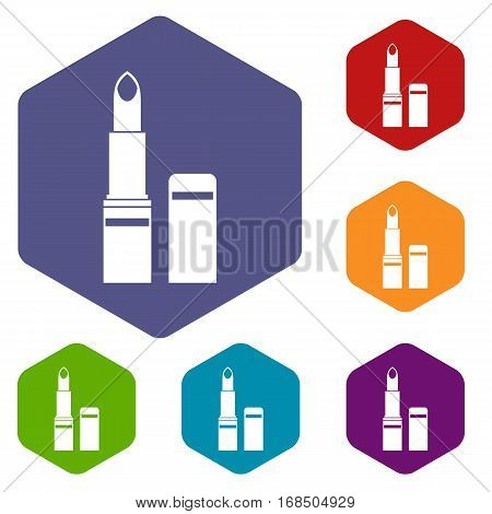 Lipstick icons set rhombus in different colors isolated on white background