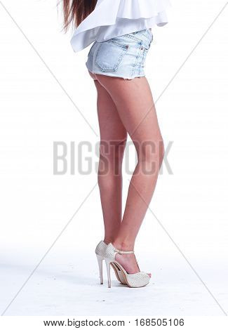 Body Part Sexy Legs In Blue Shorts.