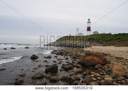 Atlantic coast in Montauk Point State Park, New York, USA