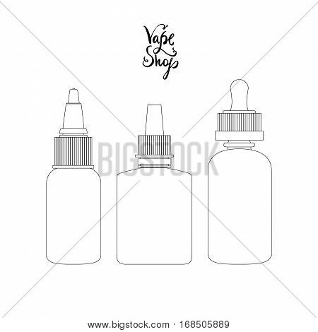 Isolated vape bottles thin line art, outline set with liquid or aroma. Electronic cigarette accessorize, icons for vaporizer design