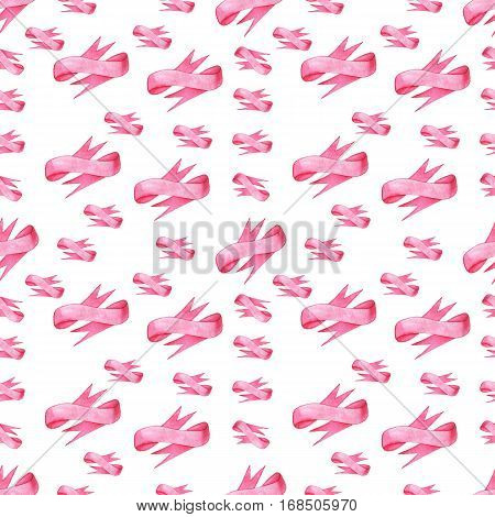 Seamless pattern of pink bows ribbon on white background. Could be used for paper or in design