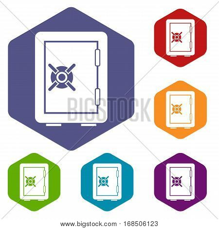 Safety deposit box icons set rhombus in different colors isolated on white background