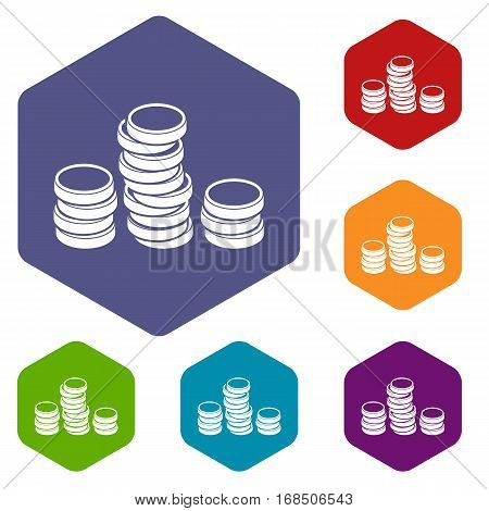 Gold coins icons set rhombus in different colors isolated on white background