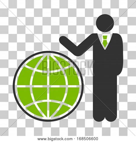 Planetary Manager icon. Vector illustration style is flat iconic bicolor symbol, eco green and gray colors, transparent background. Designed for web and software interfaces.