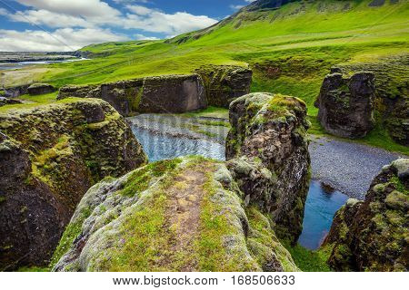 The canyon Fyadrarglyufur in Iceland. Green Tundra in July. Bizarre shape of cliffs and stream with glacial water. The concept of active northern tourism