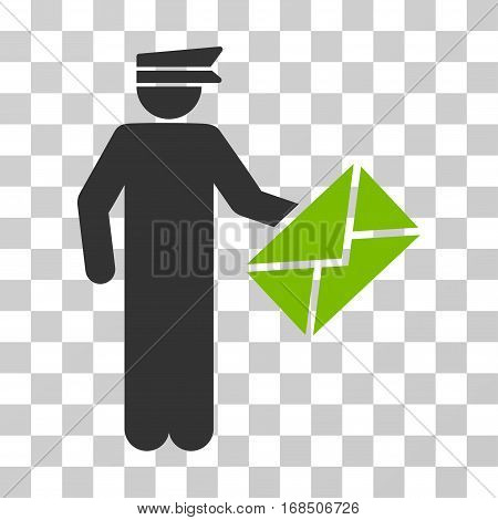 Postman icon. Vector illustration style is flat iconic bicolor symbol, eco green and gray colors, transparent background. Designed for web and software interfaces.