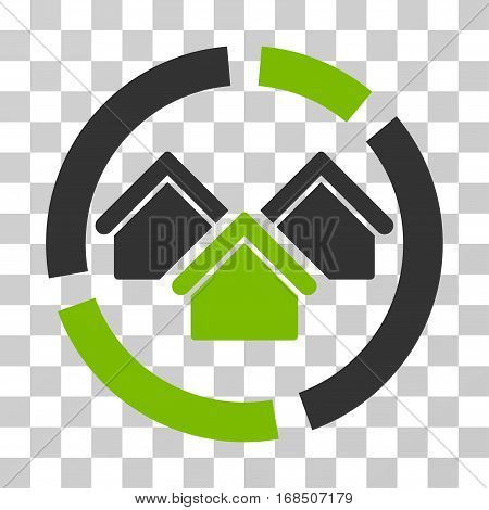 Realty Diagram icon. Vector illustration style is flat iconic bicolor symbol, eco green and gray colors, transparent background. Designed for web and software interfaces.