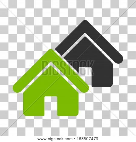 Realty icon. Vector illustration style is flat iconic bicolor symbol, eco green and gray colors, transparent background. Designed for web and software interfaces.