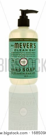 Winneconne WI -29 January 2017: Bottle of Mrs. Meyer clean day soap on an isolated background.
