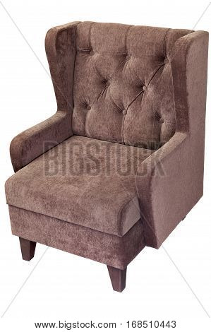 light brown fabric upholstered single seater armchair isolated on white background with clipping path.