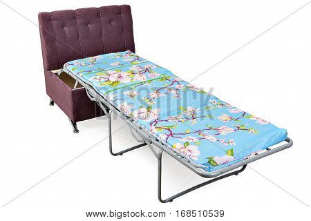 New single sofa bed-chair transform into a single bed pull out armchair isolated on white background with clipping path.