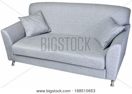 Two seater fabric sofa light grey color with metal legs and two cushions isolated on white background with clipping path.
