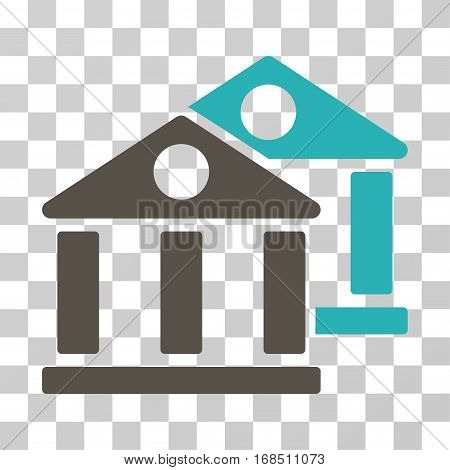 Banks icon. Vector illustration style is flat iconic bicolor symbol, grey and cyan colors, transparent background. Designed for web and software interfaces.